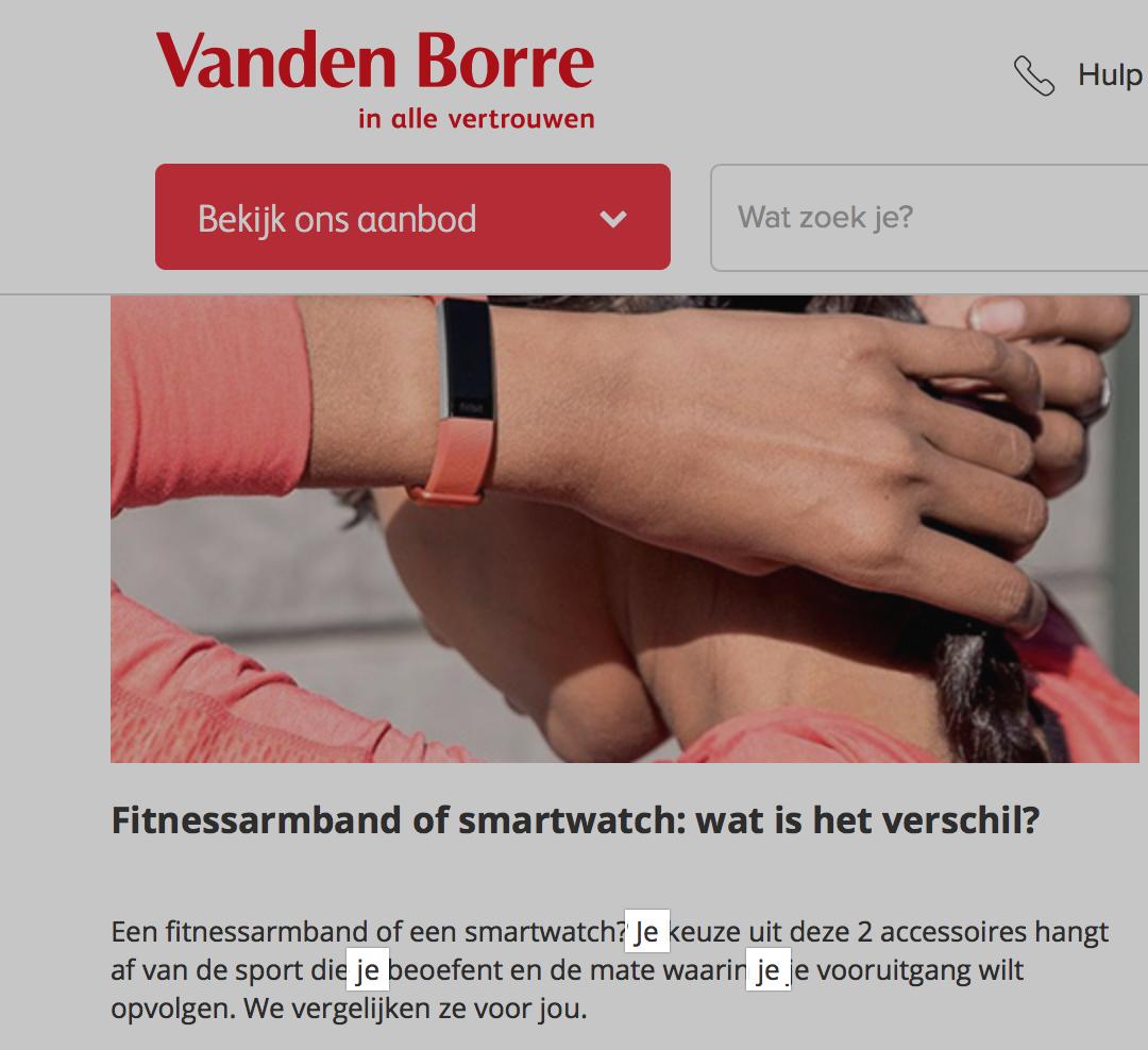'Je'- vorm bij Vanden Borre