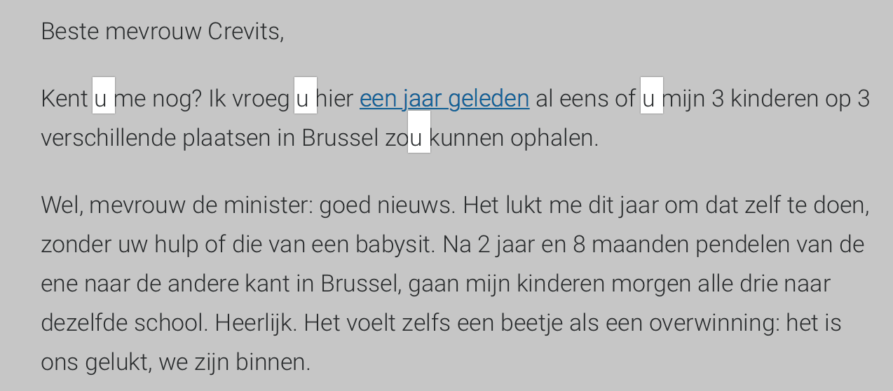 Brief aan de minister in de u-vorm